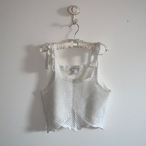 Forever 21 Contemporary White Crochet Crop Top